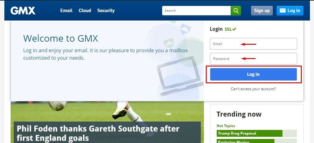 Log in GMX Mail