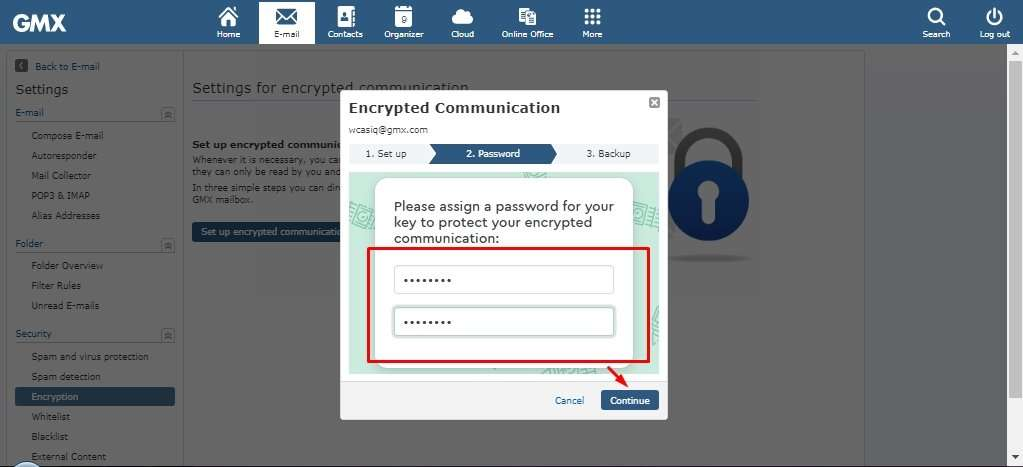 Encrypted Communication in GMX Mail