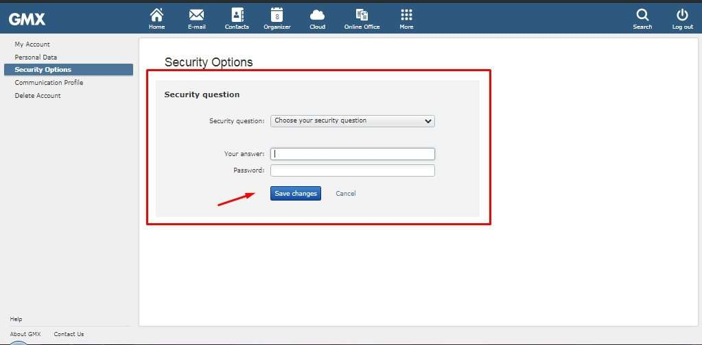 GMX Mail Security Options